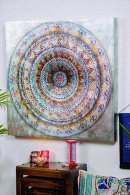 Round Mandala with Sequins Print Canvas