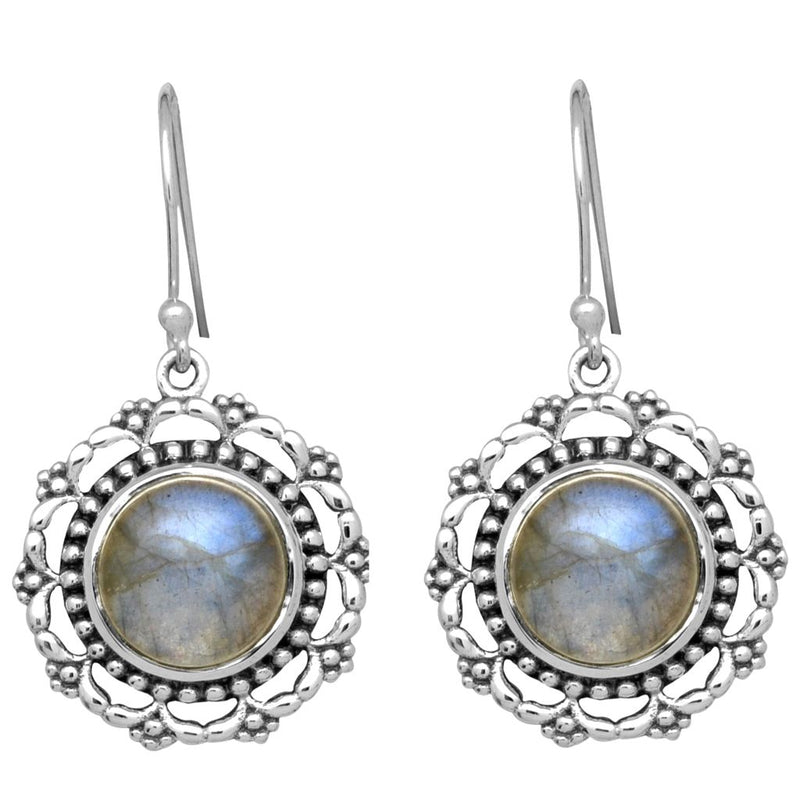 Round Rainbow Labradorite Earrings