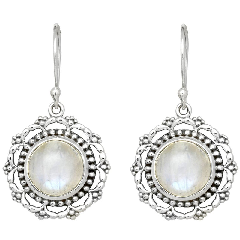Round Rainbow Moonstone Earrings