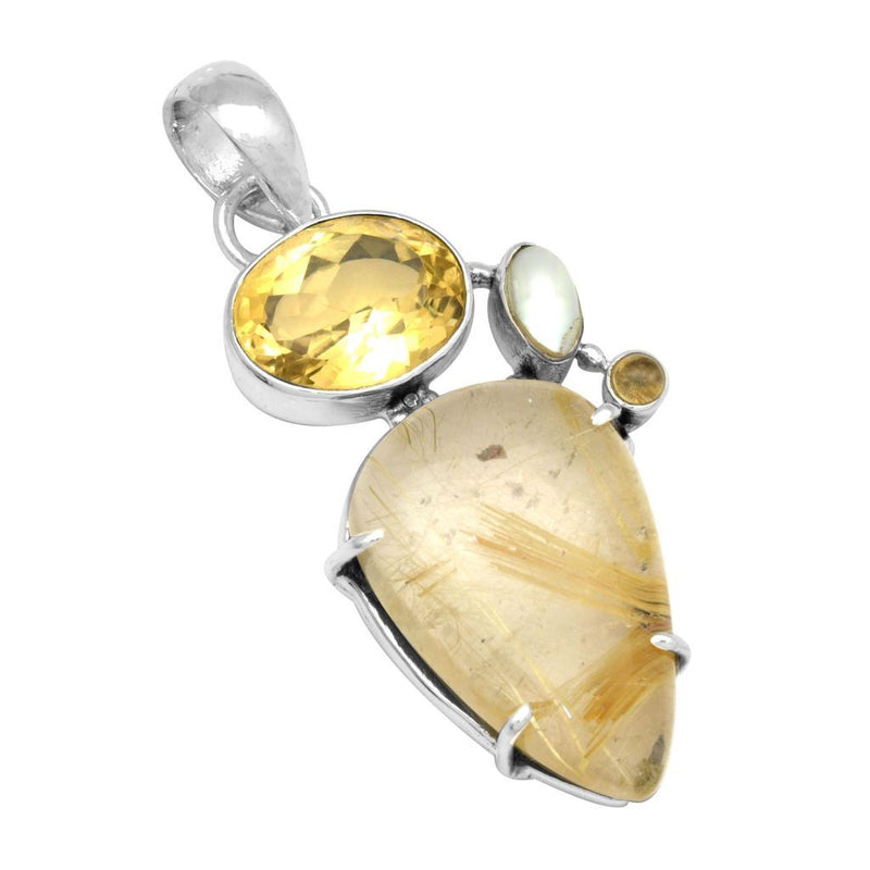 Rutile With Citrine & Pearl Pendant