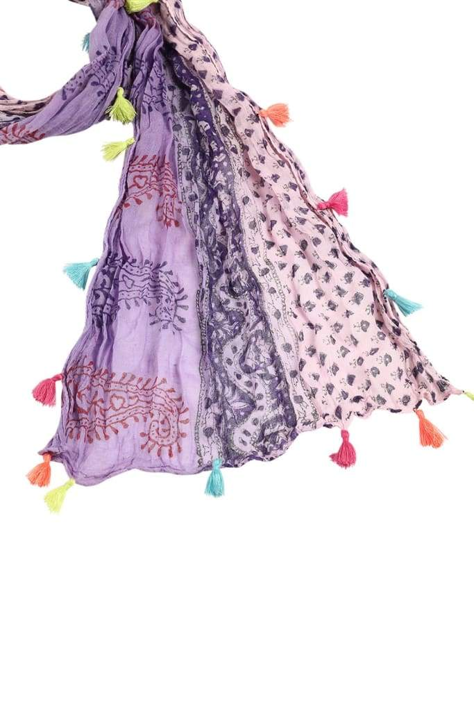 Scarf Paisley With Coloured Tassels Purple & Pink