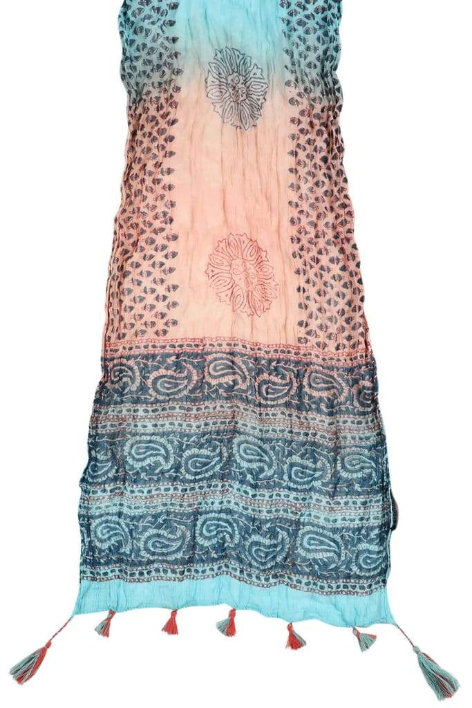 Scarf Paisley With Tassels Peach & Green