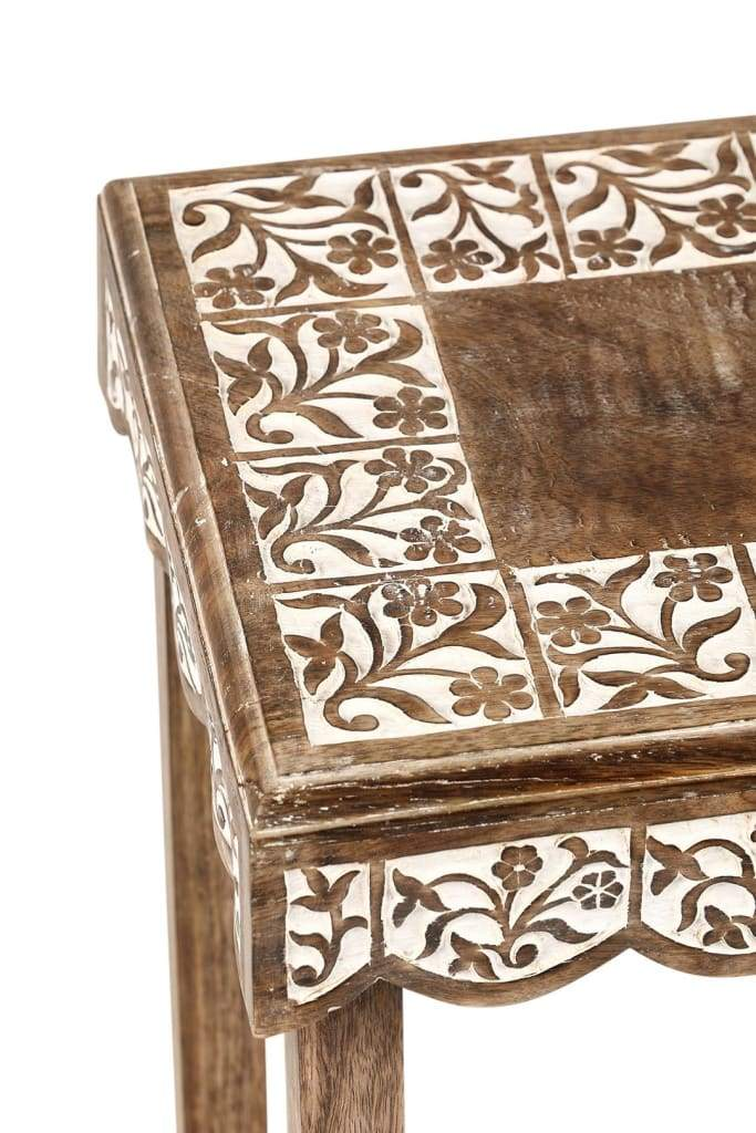 Set of 2 Floral Timber Nesting Tables