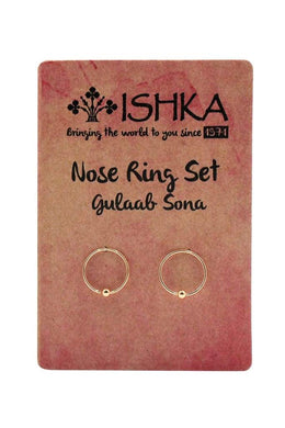 Set of 2 Silver Nose Rings - Gulaab Sona
