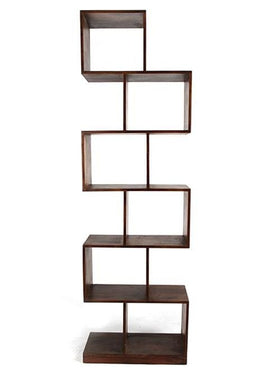 Offset Acacia Walnut Cube Shelf