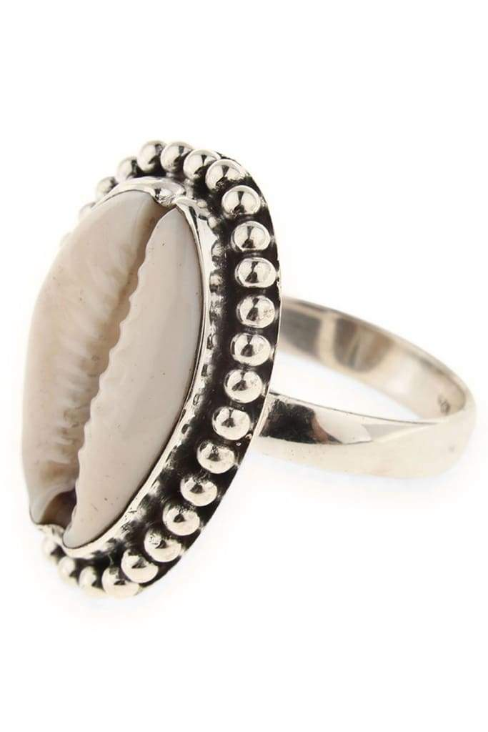 Silver Cased Cowrie Shell Ring