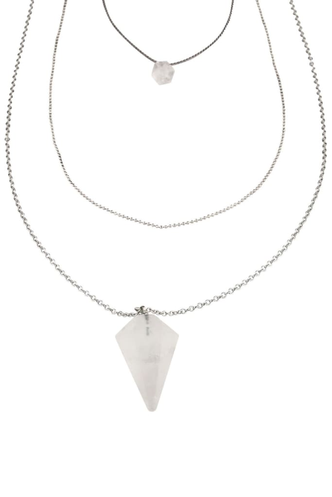 Silver Quartz Pendulum Necklace