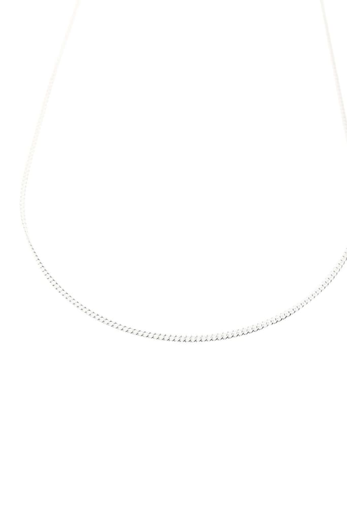 Single Curb Silver Chain Necklace
