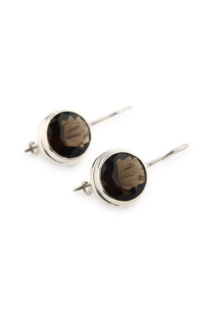Smoky Quartz Faceted Round Earrings
