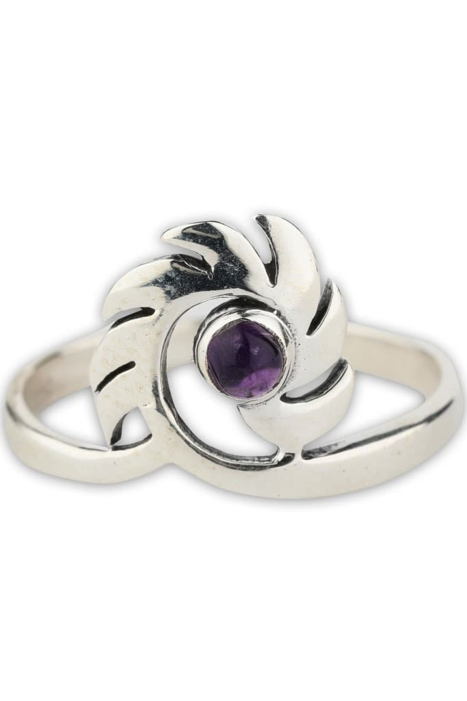 Spiked Spiral Amethyst Ring
