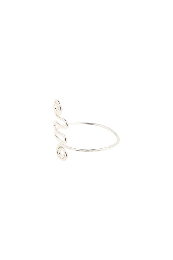 Spiral Swirl Long Silver Toe Ring