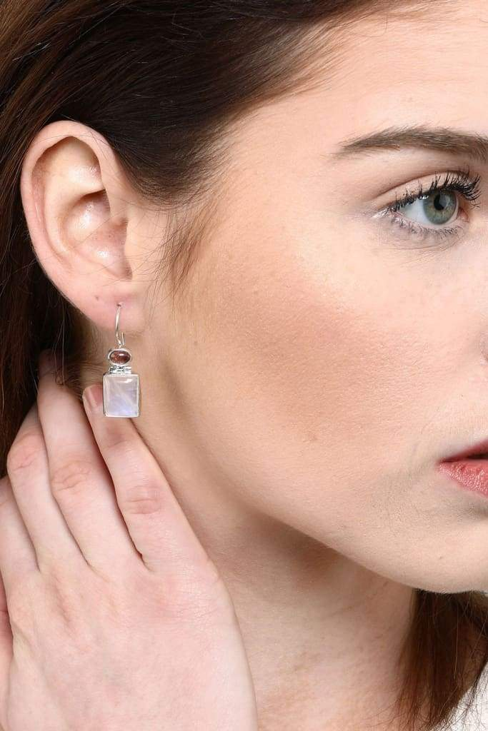 Square Tourmaline Moonstone Earrings