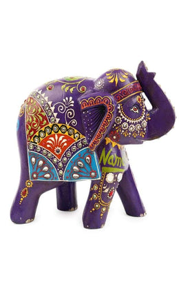 Statue Elephant Walking painted Namaste 20x10x20cm
