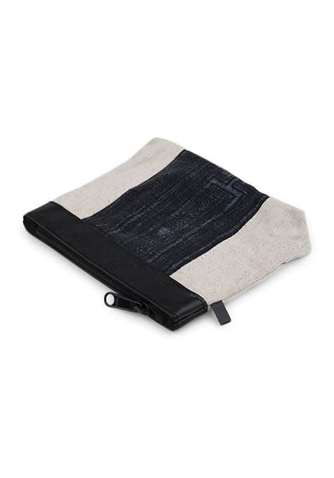 Stripe Denim Coin Pouch
