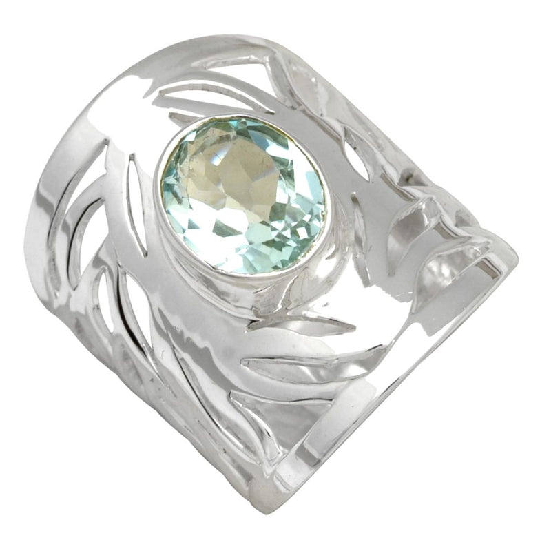 Swirling Band Blue Topaz Ring