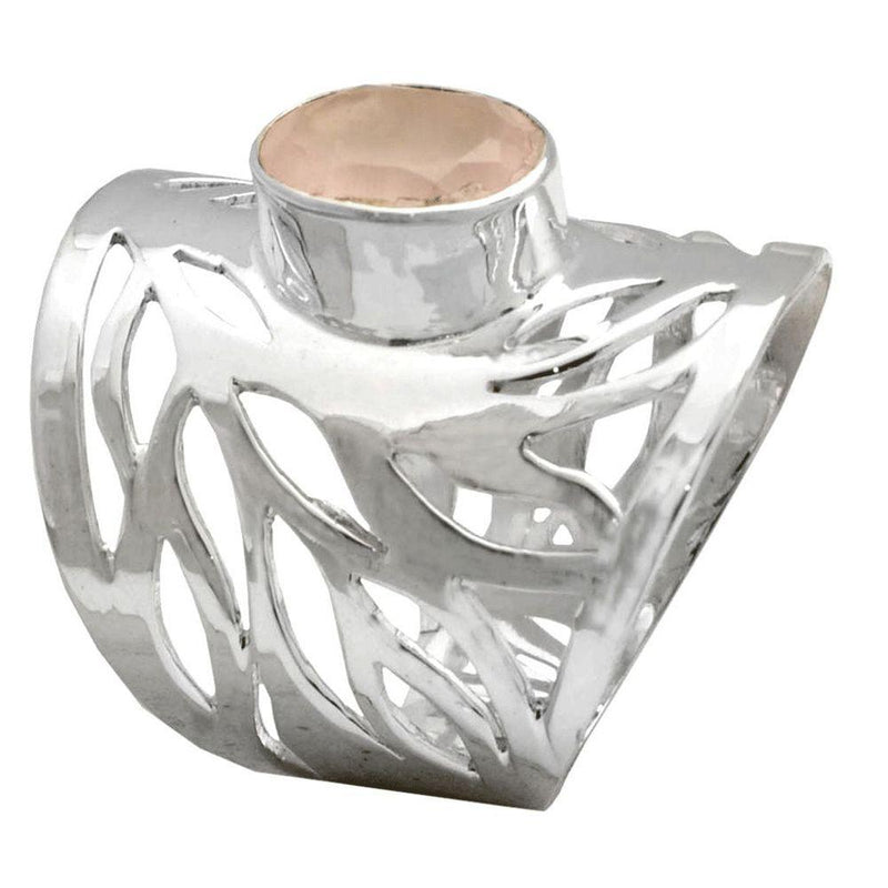 Swirling Band Rose Quartz Ring
