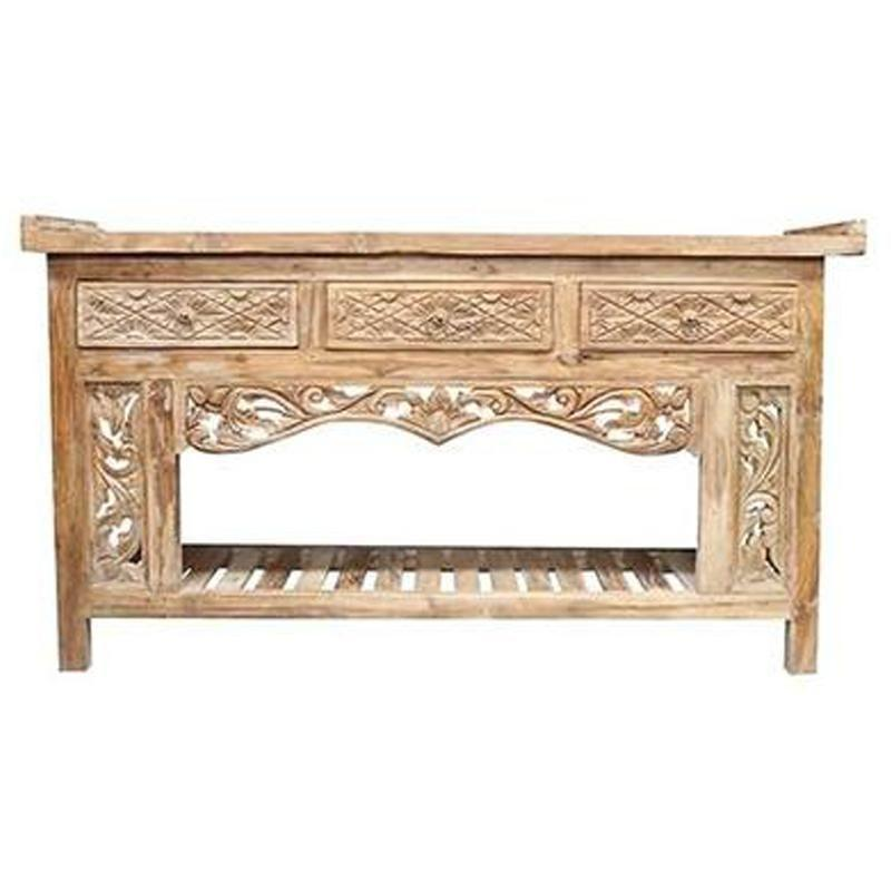 Teak Carved Console Table