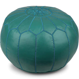 Teal Leather Ottoman