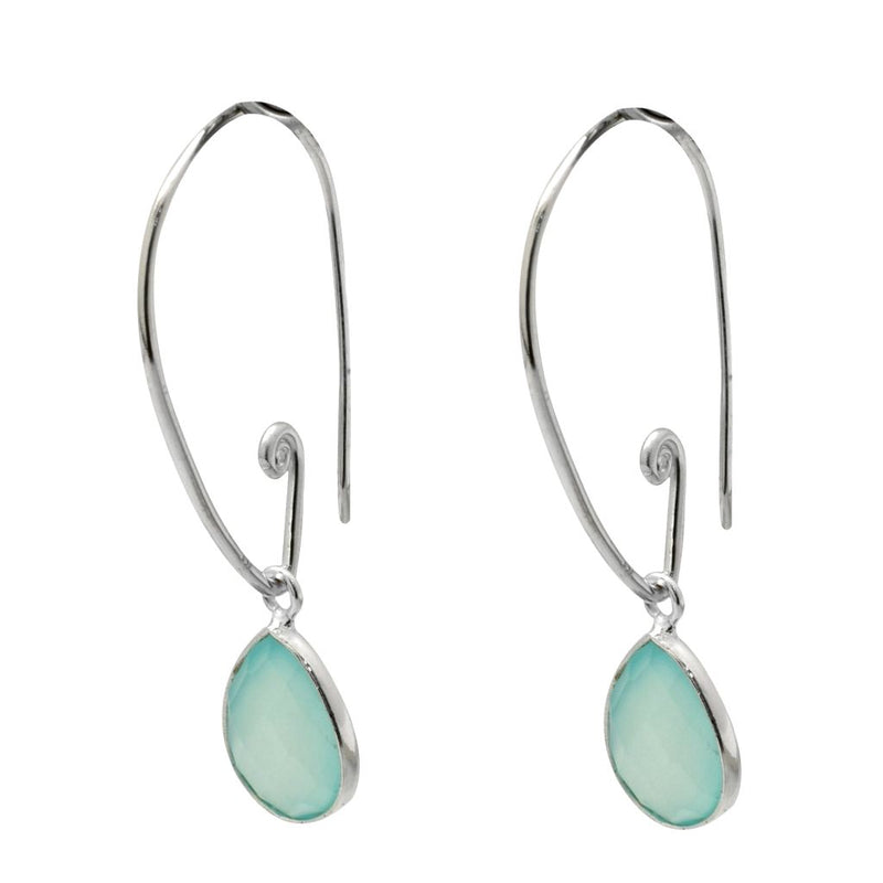 Teardrop Earrings - Aqua Chalcedony