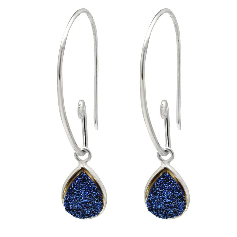 Teardrop Earrings - Titanium Druzy