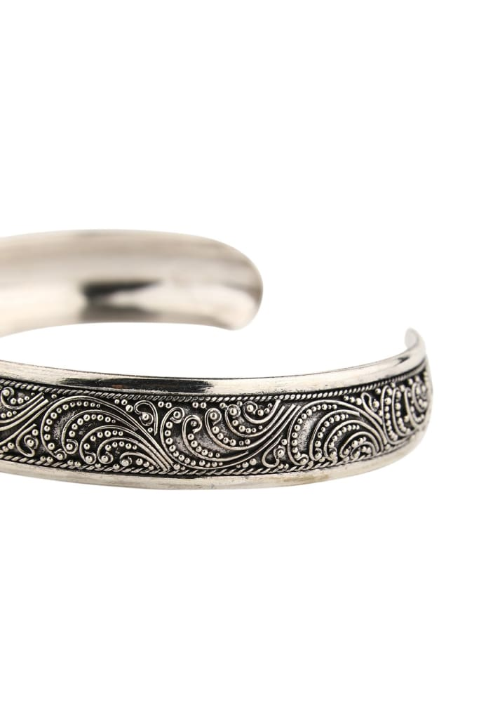Textured Domed Silver Cuff Bangle