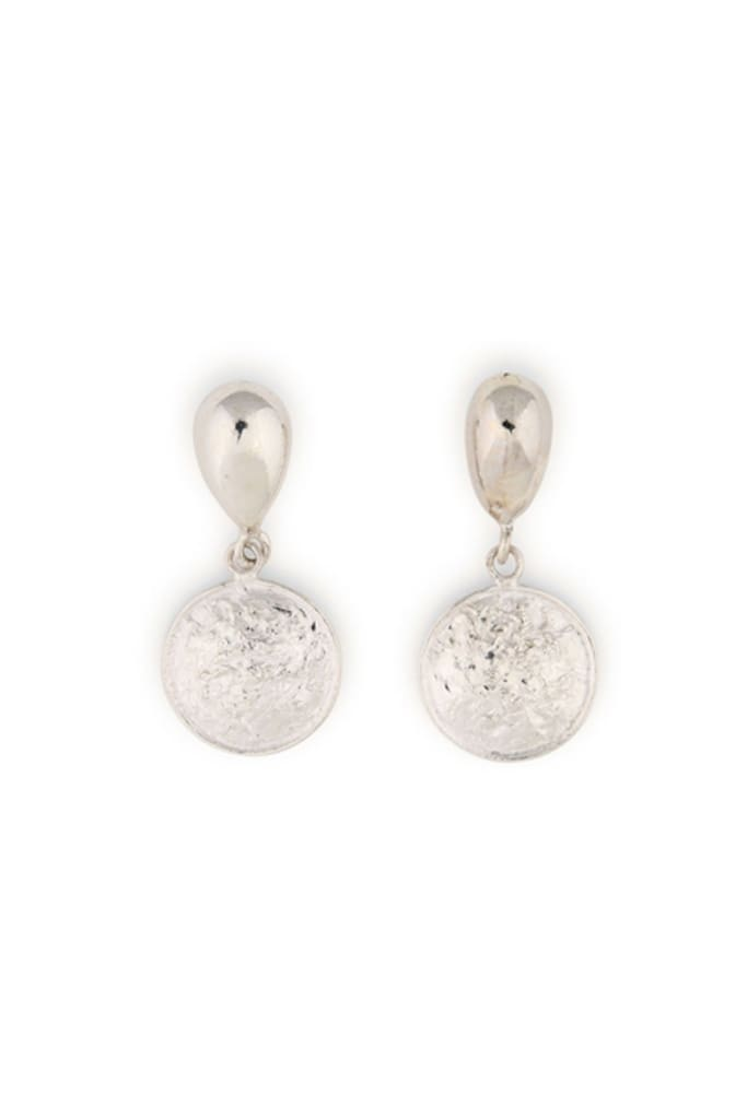 Textured Organic Droplet Silver Stud Earrings
