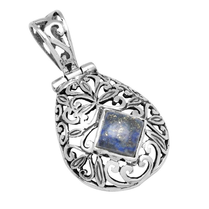 Thick Filigree Lapis Pendant