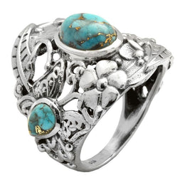 Tri-Stone Copper Turquoise Ring
