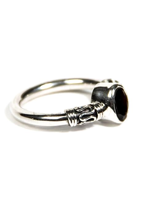 Tribal & Bearing Ring With Garnet Stone