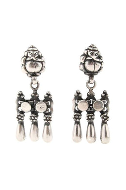 Tribal Links Droplet Silver Earrings