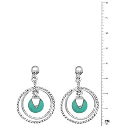 Turquoise Droplet Circle Earrings