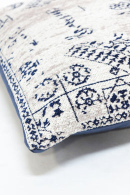 Blue & Taupe Antique Cotton Chenille Cushion