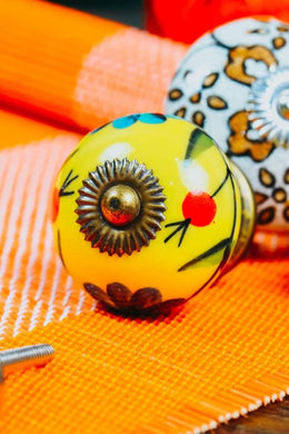 Yellow Floral Ceramic Knob