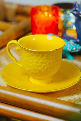 Yellow Flower Ceramic Teacup With Saucer