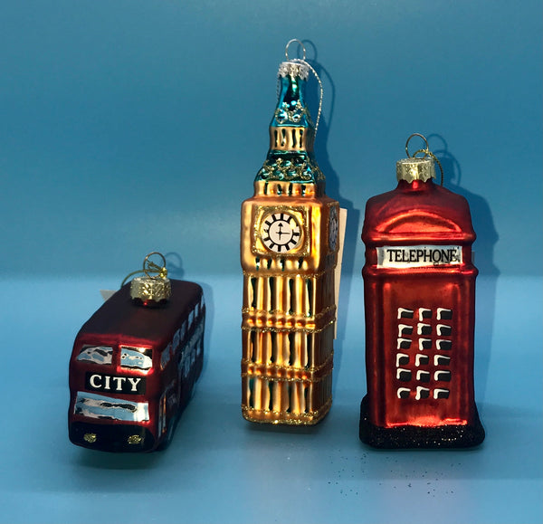 London Icon Glass Christmas Decorations by Gisela Graham