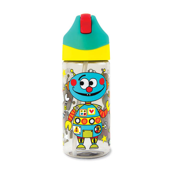 Drinks Bottle with Straw - Robots