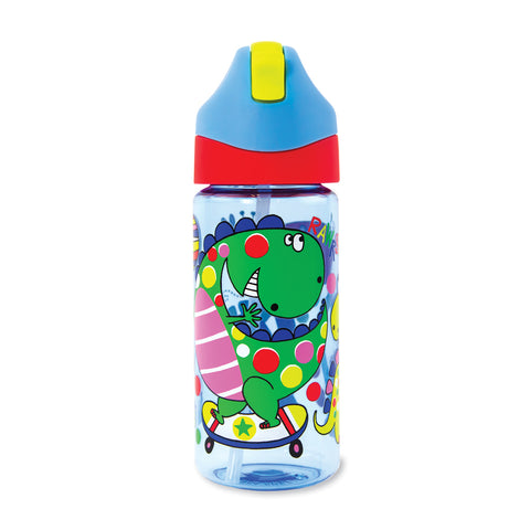 Drinks Bottle with Straw - Dinosaurs