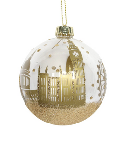 Gold London Landscape on a Clear Bauble by Gisela Graham