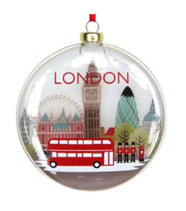 London Landscape on a flatten Disc Bauble by Gisela Graham