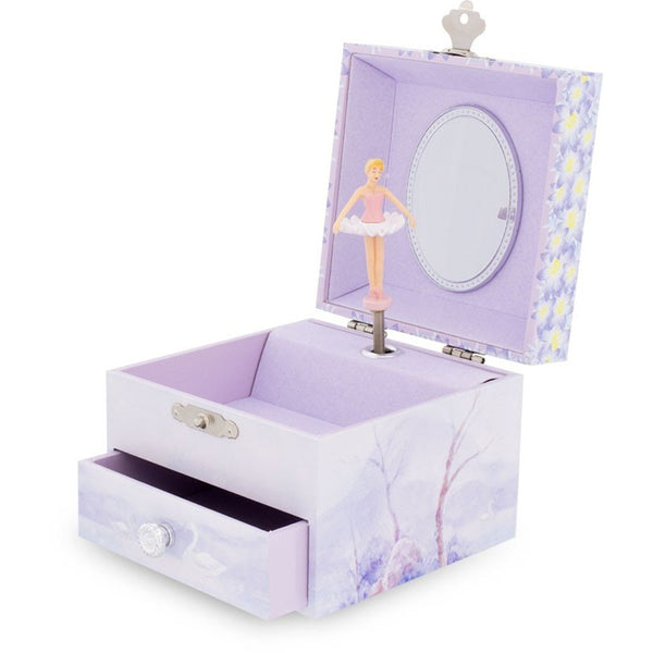 Square Swan Lake Musical Jewellery Box with a drawer