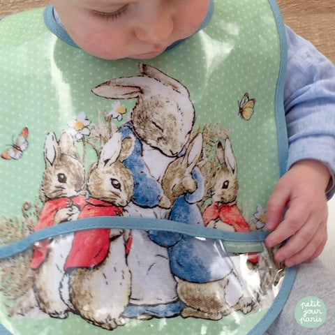 Coated Cotton Baby Bib with Peter Rabbit