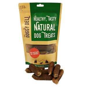 Gourmet Beef and Garlic Deli Sausages Treats for Dogs 200g - The Doggy Deli