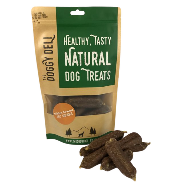 Gourmet Chicken Turmeric Deli Sausages Treats for Dogs 200g - The Doggy Deli