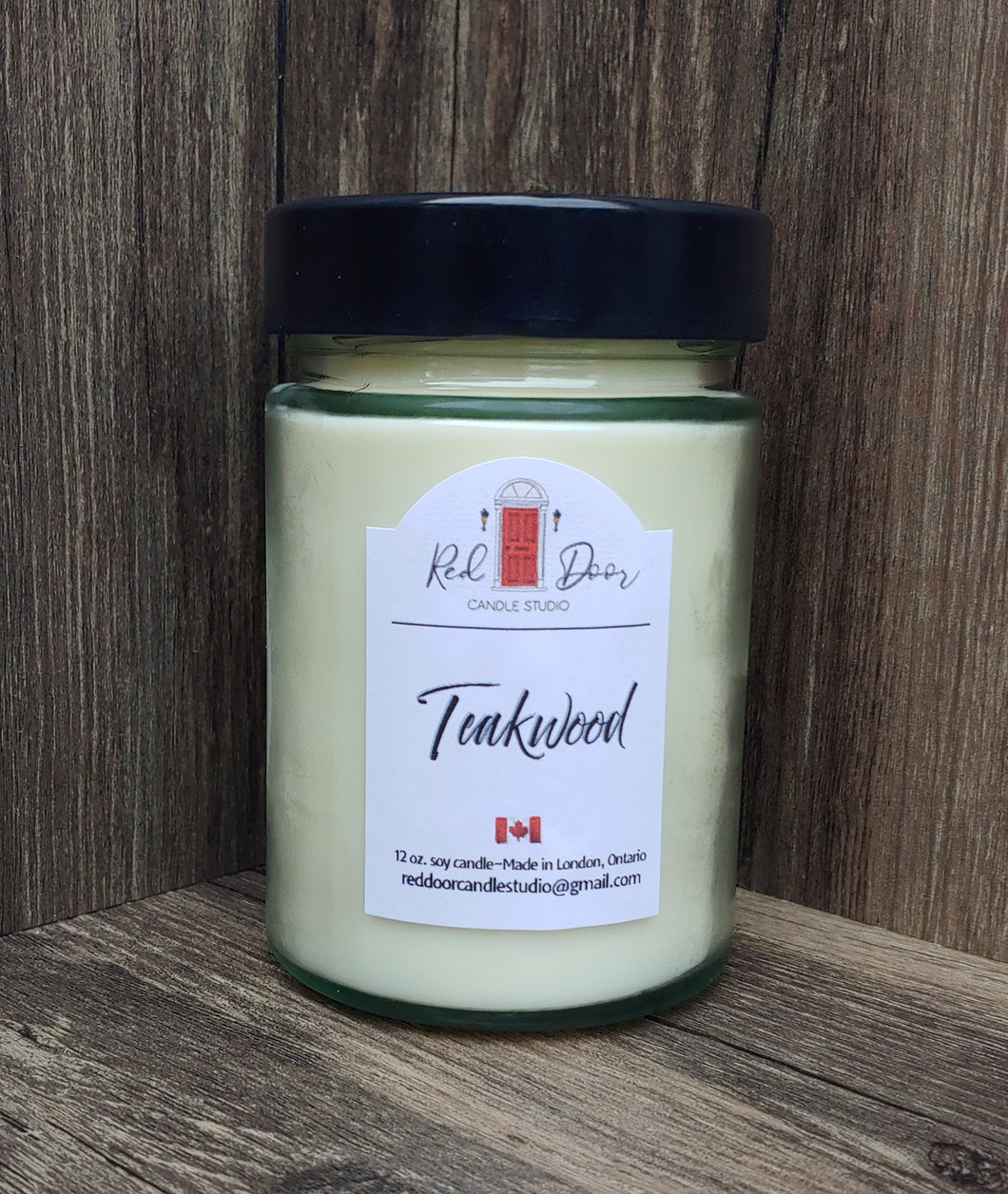 Teakwood Soy Wax Candle-12 oz Large