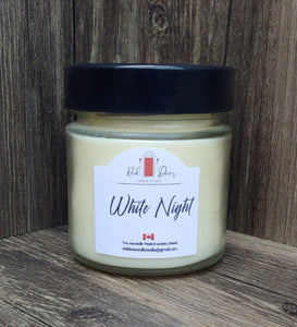 White Night Soy Wax Candle- 7 oz . Medium