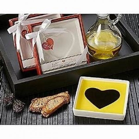 Heart Design Olive Oil & Balsamic Dipping Plate