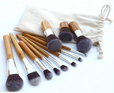 Bamboo Handle Makeup Brush Bamboo Pole Makeup Brushes Suit Bamboo Pole With Sack Top Quality - Hippie Cartel