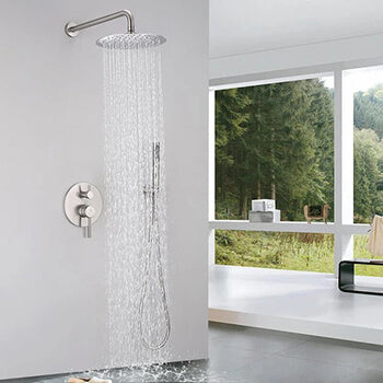 Brushed Nickel Shower Faucet Set (Valve Included)