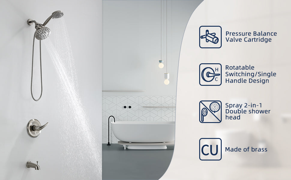 Homelody Brush Nickel Dual shower faucet