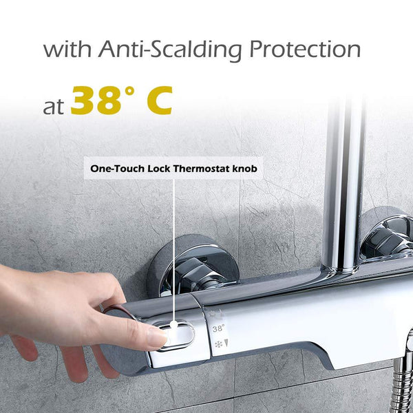 3 Functions Thermostatic Shower System with Shower Mixer Homelody - Homelody